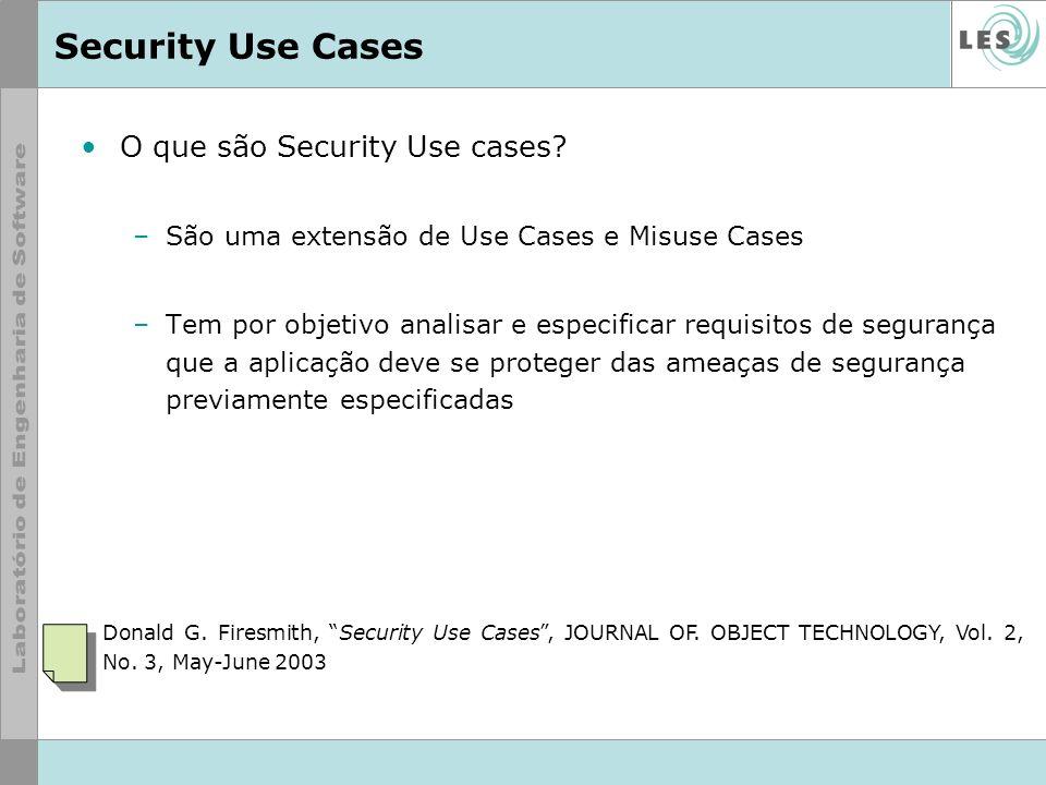 Security Use Cases O que são Security Use cases? –São uma extensão de Use Cases e Misuse Cases –Tem por objetivo analisar e especificar requisitos de