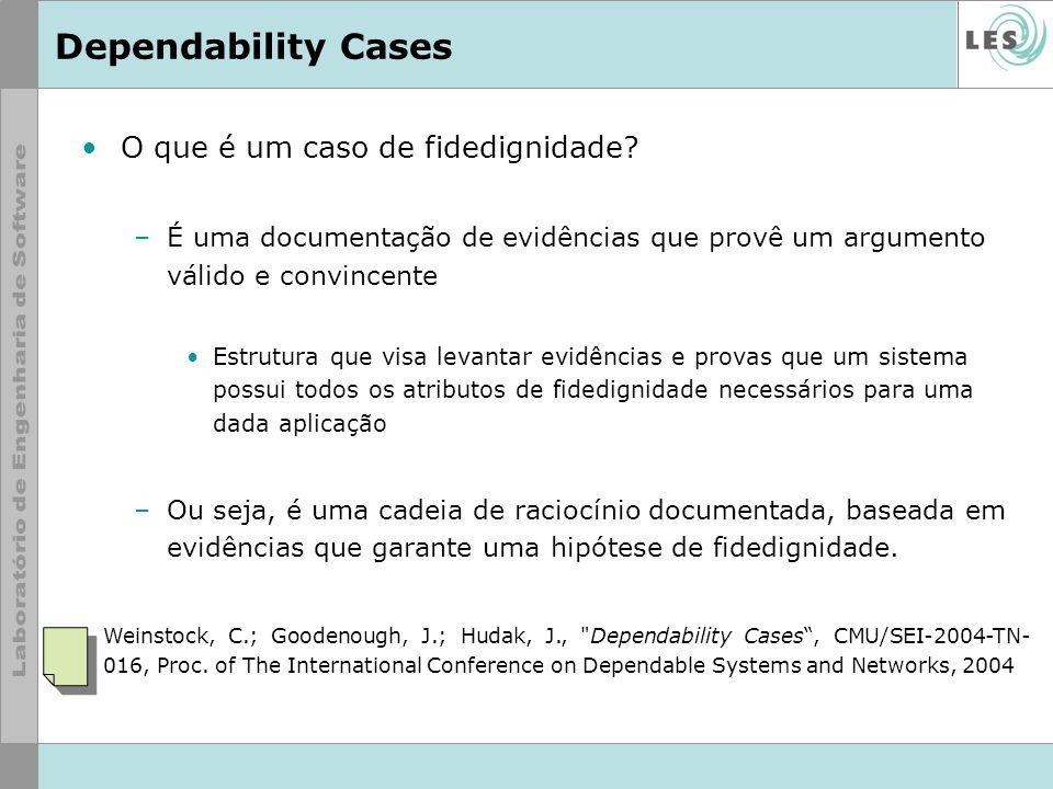 Dependability Cases O que é um caso de fidedignidade? –É uma documentação de evidências que provê um argumento válido e convincente Estrutura que visa