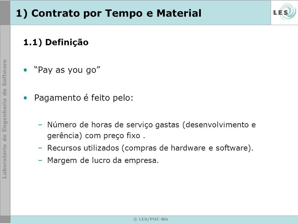 © LES/PUC-Rio 1) Contrato por Tempo e Material 1.1) Definição Pay as you go Pagamento é feito pelo: –Número de horas de serviço gastas (desenvolviment