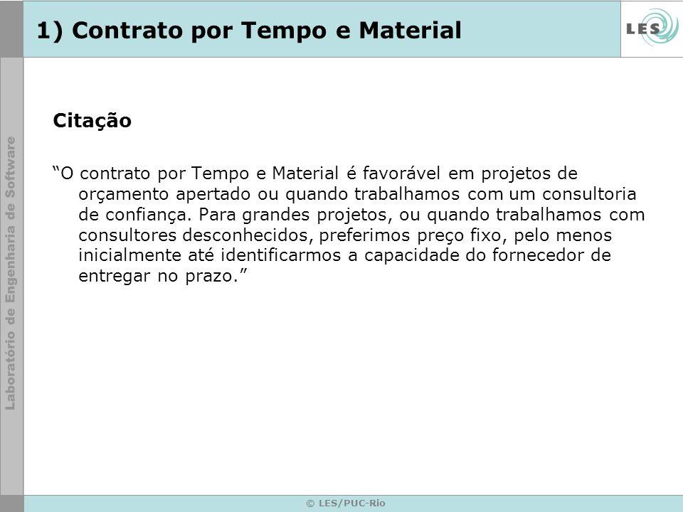 © LES/PUC-Rio 1) Contrato por Tempo e Material Citação O contrato por Tempo e Material é favorável em projetos de orçamento apertado ou quando trabalh