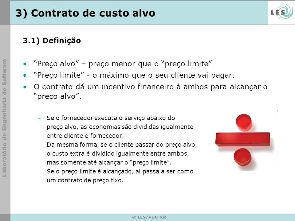 © LES/PUC-Rio 3) Contrato de custo alvo 3.1) Definição Preço alvo – preço menor que o preço limite Preço limite - o máximo que o seu cliente vai pagar