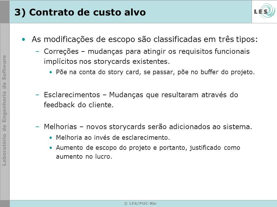 © LES/PUC-Rio 3) Contrato de custo alvo As modificações de escopo são classificadas em três tipos: –Correções – mudanças para atingir os requisitos fu