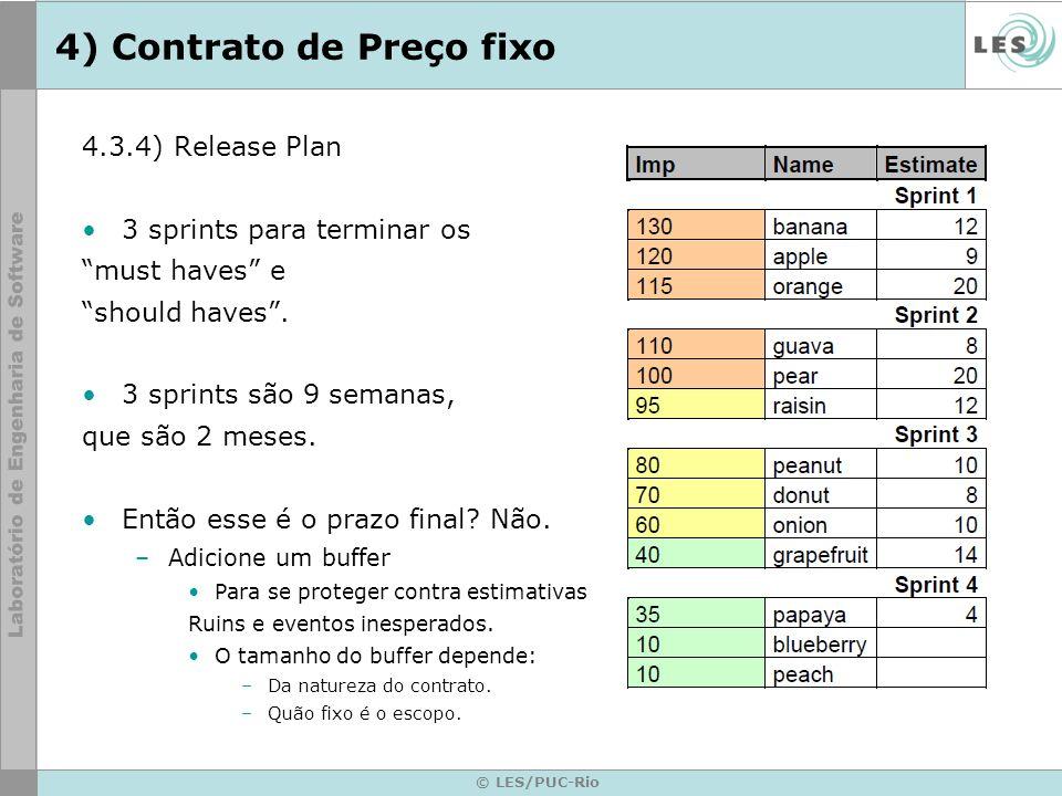© LES/PUC-Rio 4) Contrato de Preço fixo 4.3.4) Release Plan 3 sprints para terminar os must haves e should haves. 3 sprints são 9 semanas, que são 2 m