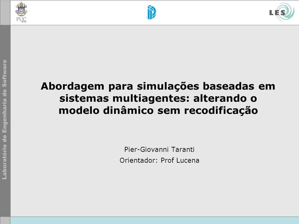 Abordagem para simulações baseadas em sistemas multiagentes: alterando o modelo dinâmico sem recodificação Pier-Giovanni Taranti Orientador: Prof Luce