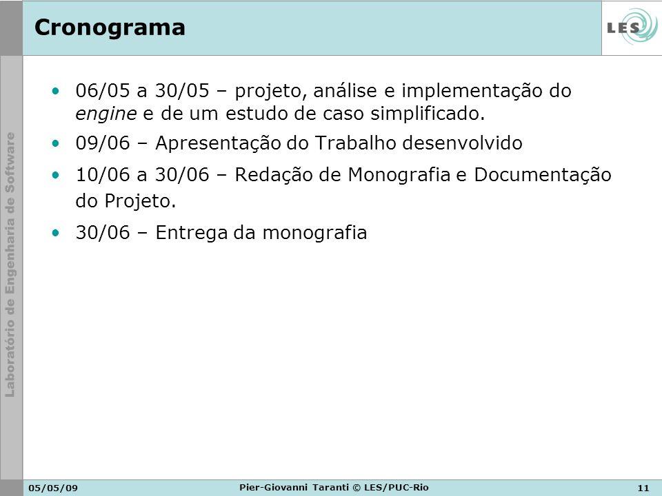 05/05/0911 Pier-Giovanni Taranti © LES/PUC-Rio Cronograma 06/05 a 30/05 – projeto, análise e implementação do engine e de um estudo de caso simplifica