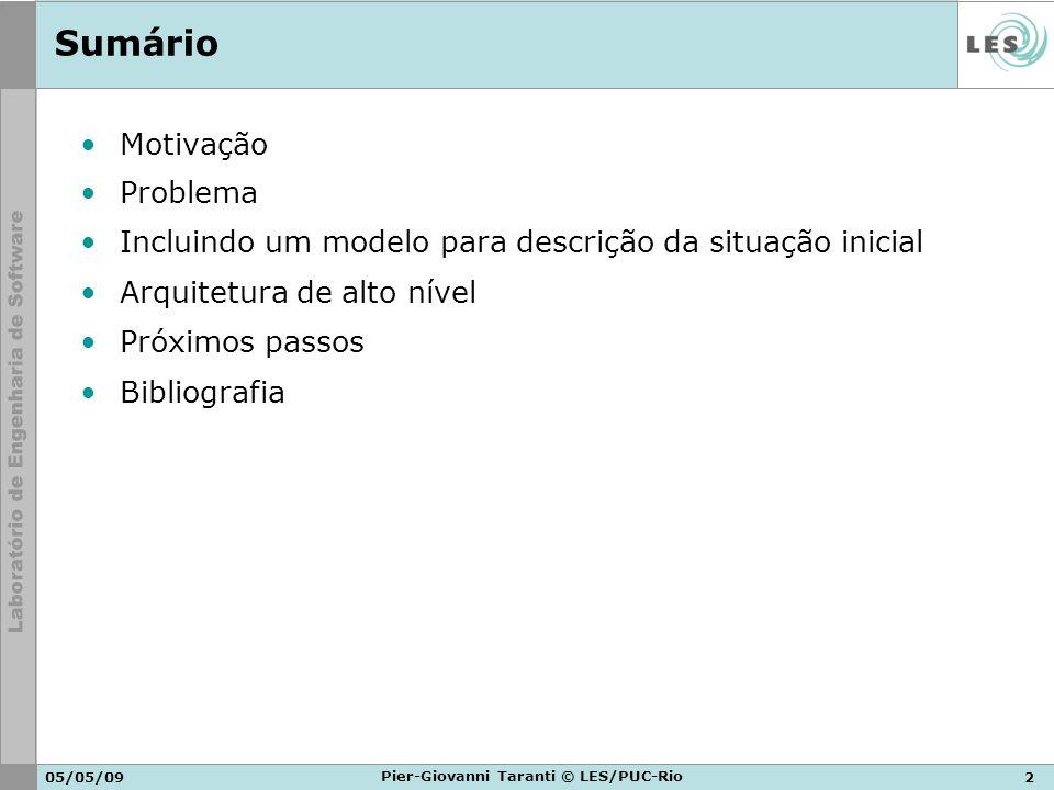 05/05/092 Pier-Giovanni Taranti © LES/PUC-Rio Sumário Motivação Problema Incluindo um modelo para descrição da situação inicial Arquitetura de alto ní