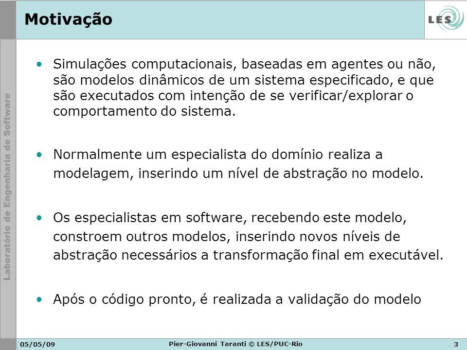 05/05/093 Pier-Giovanni Taranti © LES/PUC-Rio Motivação Simulações computacionais, baseadas em agentes ou não, são modelos dinâmicos de um sistema esp
