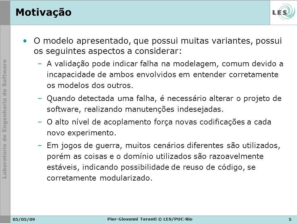 05/05/095 Pier-Giovanni Taranti © LES/PUC-Rio Motivação O modelo apresentado, que possui muitas variantes, possui os seguintes aspectos a considerar: