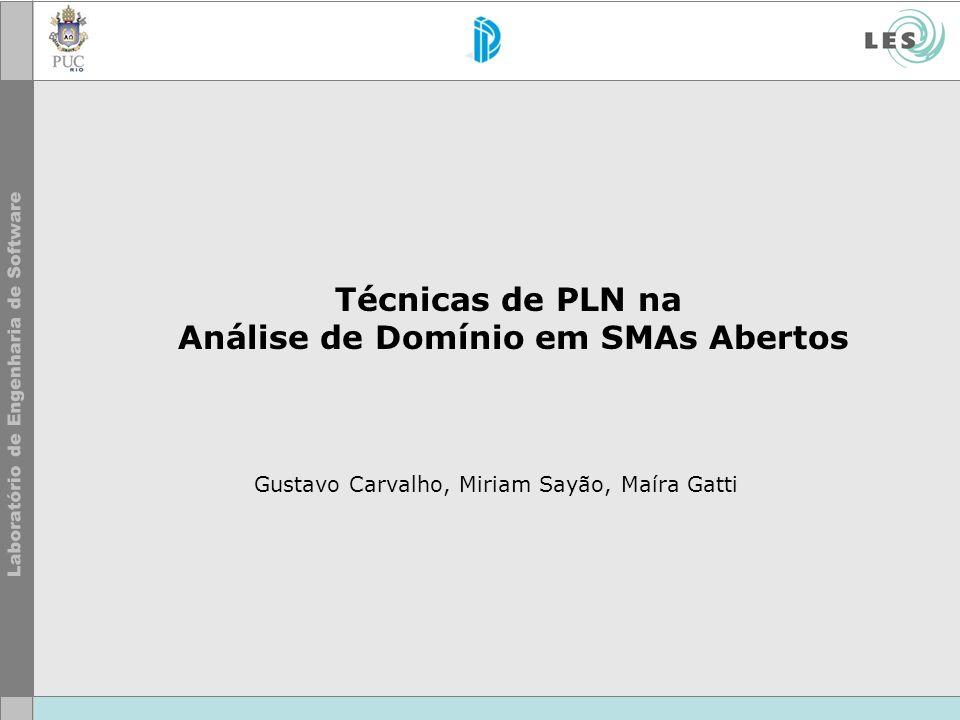 Técnicas de PLN na Análise de Domínio em SMAs Abertos Gustavo Carvalho, Miriam Sayão, Maíra Gatti