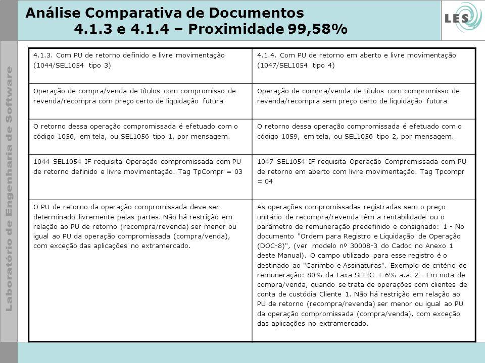 Análise Comparativa de Documentos 4.1.3 e 4.1.4 – Proximidade 99,58% 4.1.3. Com PU de retorno definido e livre movimentação (1044/SEL1054 tipo 3) 4.1.