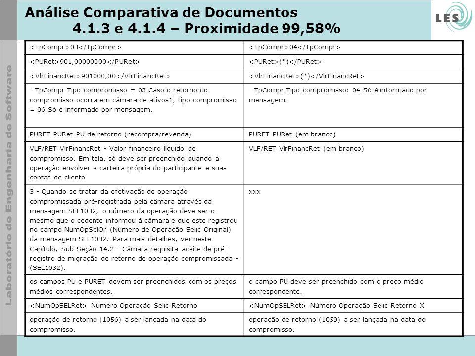 Análise Comparativa de Documentos 4.1.3 e 4.1.4 – Proximidade 99,58% 03 04 901,00000000 (*) 901000,00 (*) - TpCompr Tipo compromisso = 03 Caso o retor