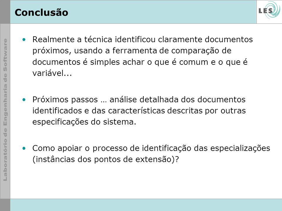 Conclusão Realmente a técnica identificou claramente documentos próximos, usando a ferramenta de comparação de documentos é simples achar o que é comu