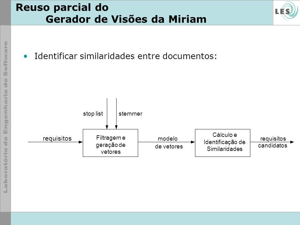 Reuso parcial do Gerador de Visões da Miriam Identificar similaridades entre documentos: Filtragem e geração de vetores Cálculo e Identificação de Sim