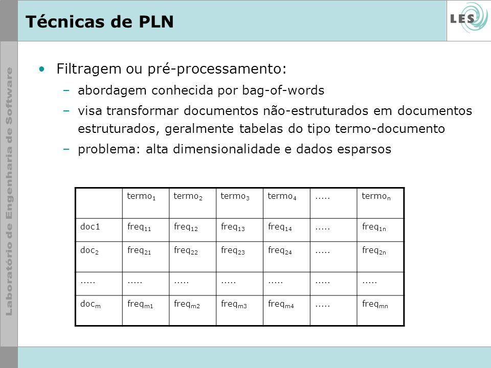 Técnicas de PLN Filtragem ou pré-processamento (cont): –redução da dimensionalidade obtida por: uso de stop list com palavras como conjunções, advérbios, preposições, artigos,...