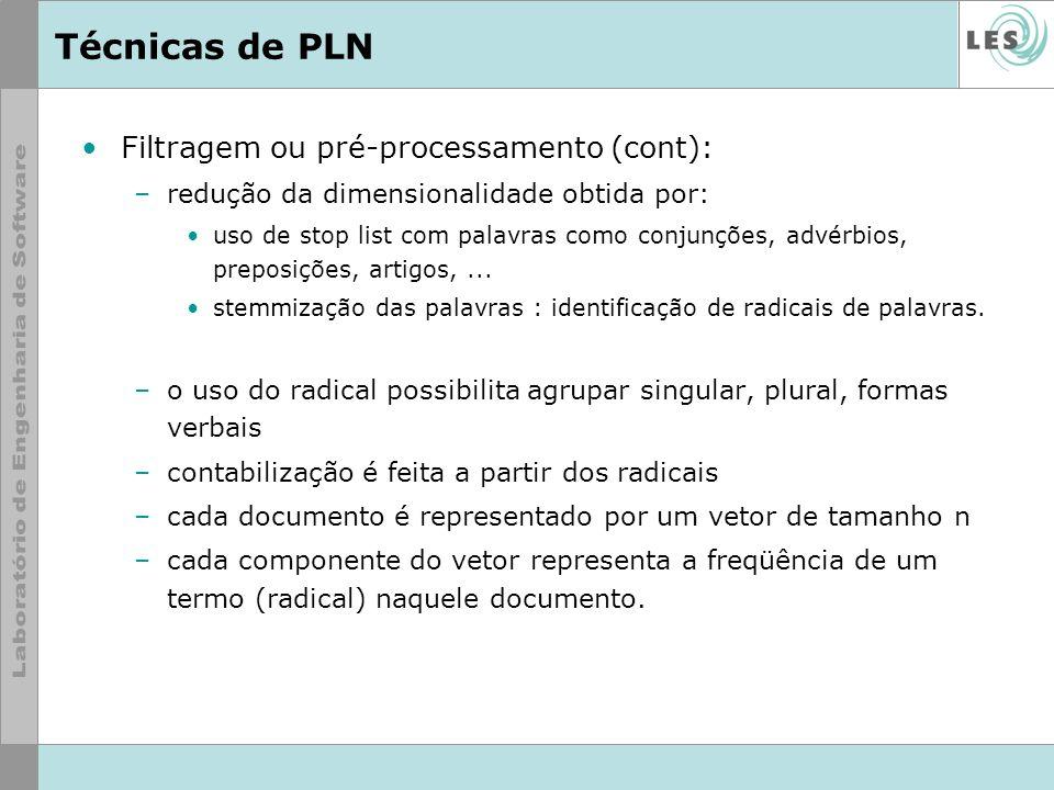 Técnicas de PLN Filtragem ou pré-processamento (cont): –redução da dimensionalidade obtida por: uso de stop list com palavras como conjunções, advérbi