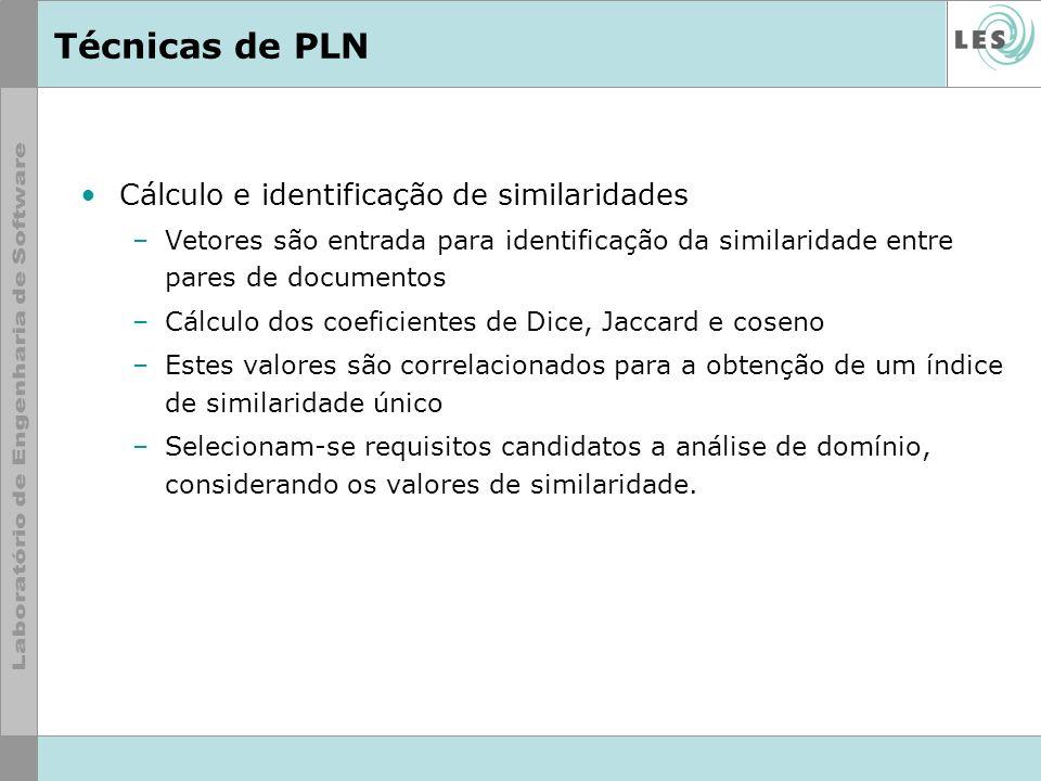 Técnicas de PLN Todos os coeficientes retornam valores entre 0 (menos próximo) e 1 (mais próximo) numerador: termos comuns (ou interseção) aos documentos denominador: todos os termos de cada documento (ou união)