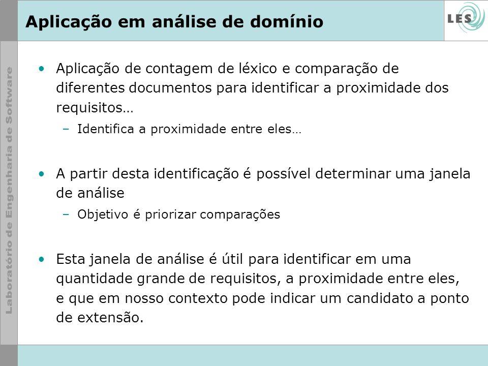 Aplicação em análise de domínio Aplicação de contagem de léxico e comparação de diferentes documentos para identificar a proximidade dos requisitos… –