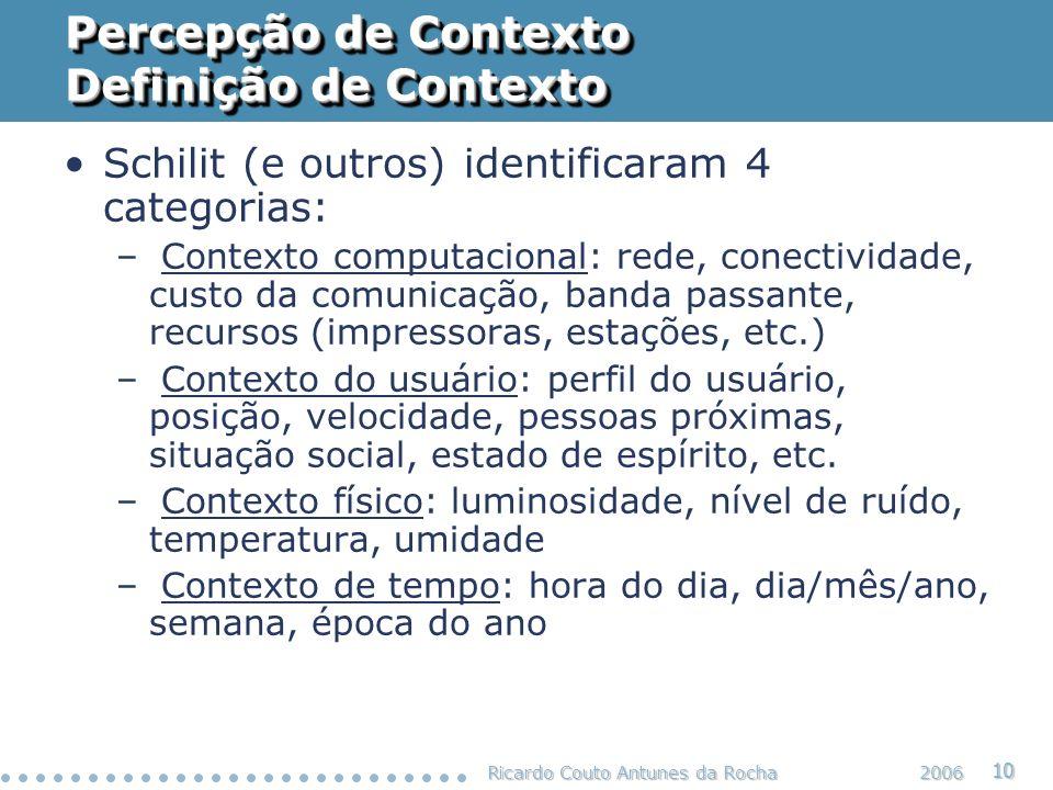 Ricardo Couto Antunes da Rocha 10 2006 Percepção de Contexto Definição de Contexto Schilit (e outros) identificaram 4 categorias: – Contexto computaci