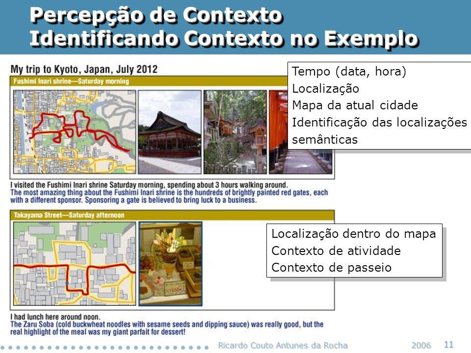 Ricardo Couto Antunes da Rocha 11 2006 Percepção de Contexto Identificando Contexto no Exemplo Tempo (data, hora) Localização Mapa da atual cidade Ide