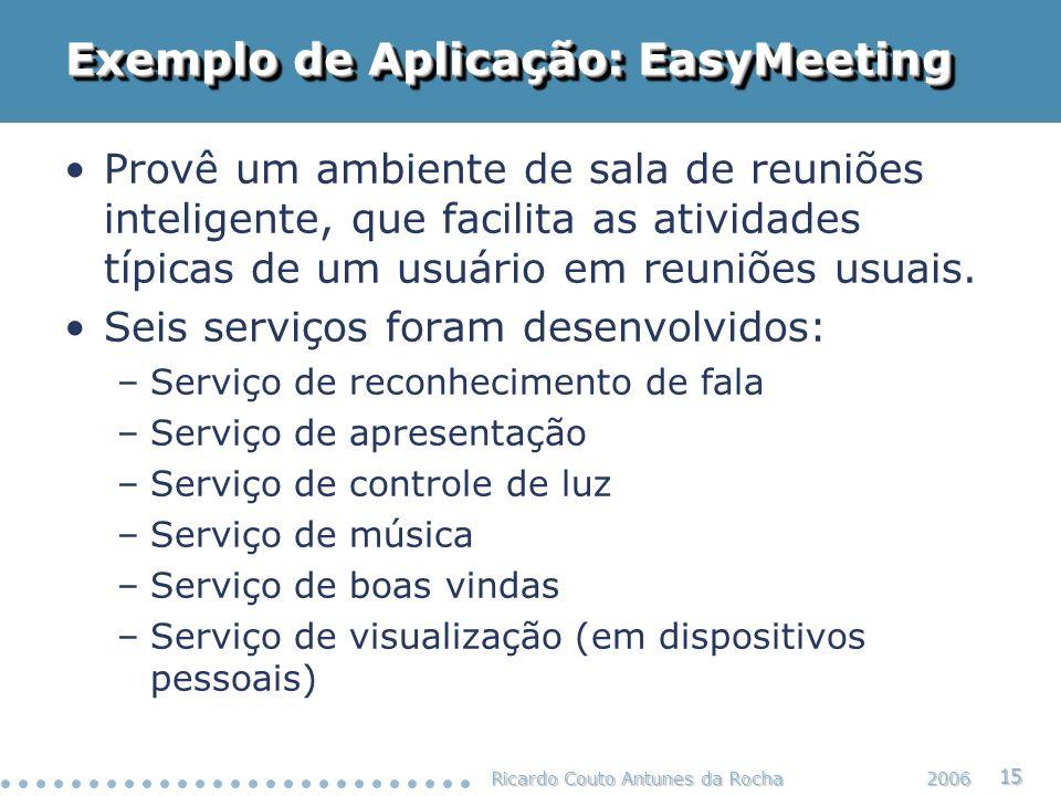 Ricardo Couto Antunes da Rocha 15 2006 Exemplo de Aplicação: EasyMeeting Provê um ambiente de sala de reuniões inteligente, que facilita as atividades