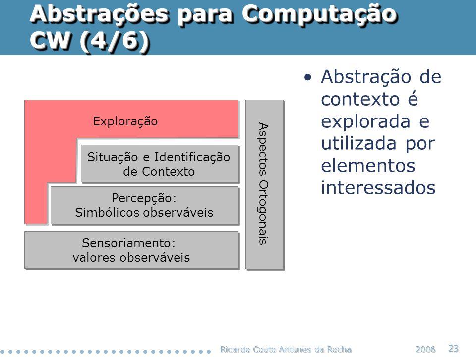 Ricardo Couto Antunes da Rocha 23 2006 Abstrações para Computação CW (4/6) Situação e Identificação de Contexto Situação e Identificação de Contexto P