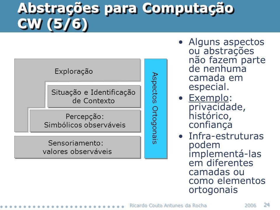 Ricardo Couto Antunes da Rocha 24 2006 Abstrações para Computação CW (5/6) Situação e Identificação de Contexto Situação e Identificação de Contexto P