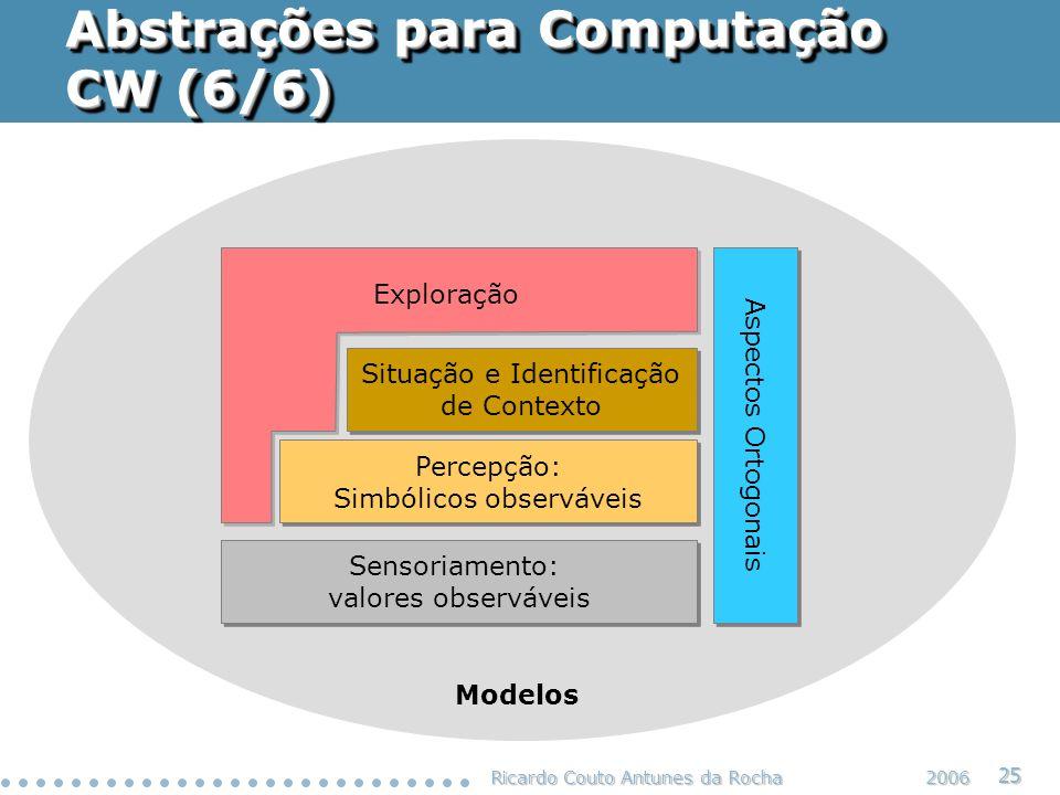 Ricardo Couto Antunes da Rocha 25 2006 Abstrações para Computação CW (6/6) Situação e Identificação de Contexto Situação e Identificação de Contexto P