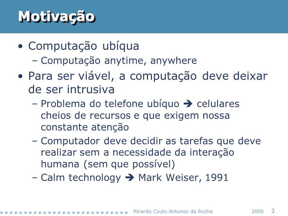 Ricardo Couto Antunes da Rocha 24 2006 Abstrações para Computação CW (5/6) Situação e Identificação de Contexto Situação e Identificação de Contexto Percepção: Simbólicos observáveis Percepção: Simbólicos observáveis Sensoriamento: valores observáveis Sensoriamento: valores observáveis Aspectos Ortogonais Exploração Alguns aspectos ou abstrações não fazem parte de nenhuma camada em especial.