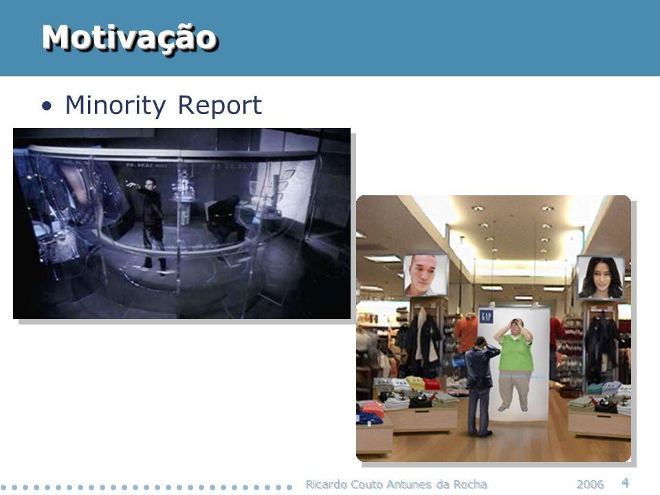 Ricardo Couto Antunes da Rocha 5 2006 Motivação Cenário de Computação Ubíqua Daniel Ashbrook, Kent Lyons, and James Clawson, Capturing Experiences Anytime, Anywhere, IEEE Pervasive Computing, vol.