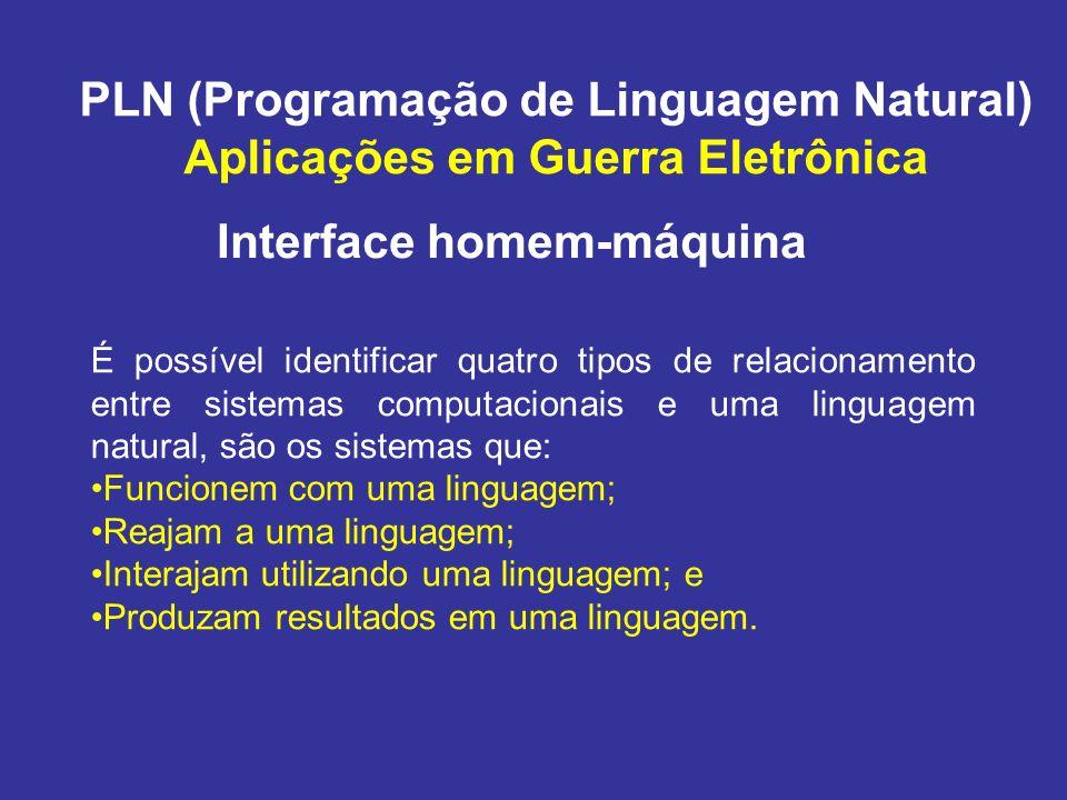 PLN (Programação de Linguagem Natural) Aplicações em Guerra Eletrônica Reconhecimento de Linguagem Natural Reconhecimento de Voz Digitadores automáticos; Controle por voz; e Autenticação por voz.