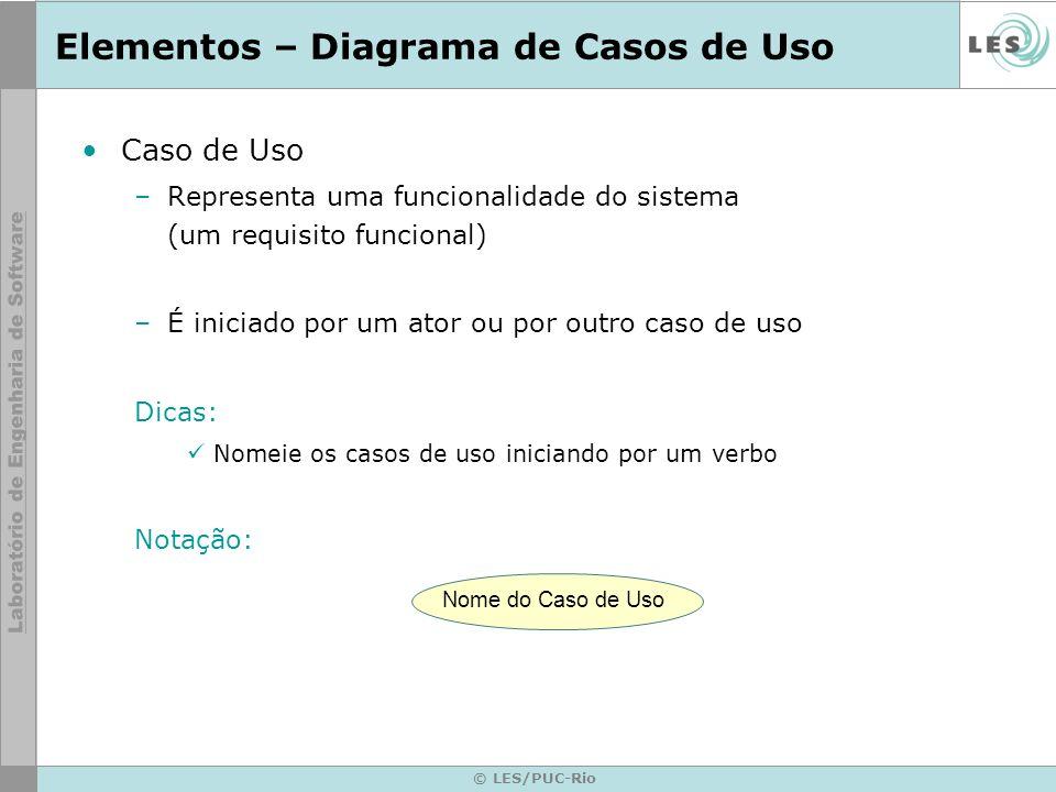 © LES/PUC-Rio Elementos – Diagrama de Casos de Uso Caso de Uso –Representa uma funcionalidade do sistema (um requisito funcional) –É iniciado por um a