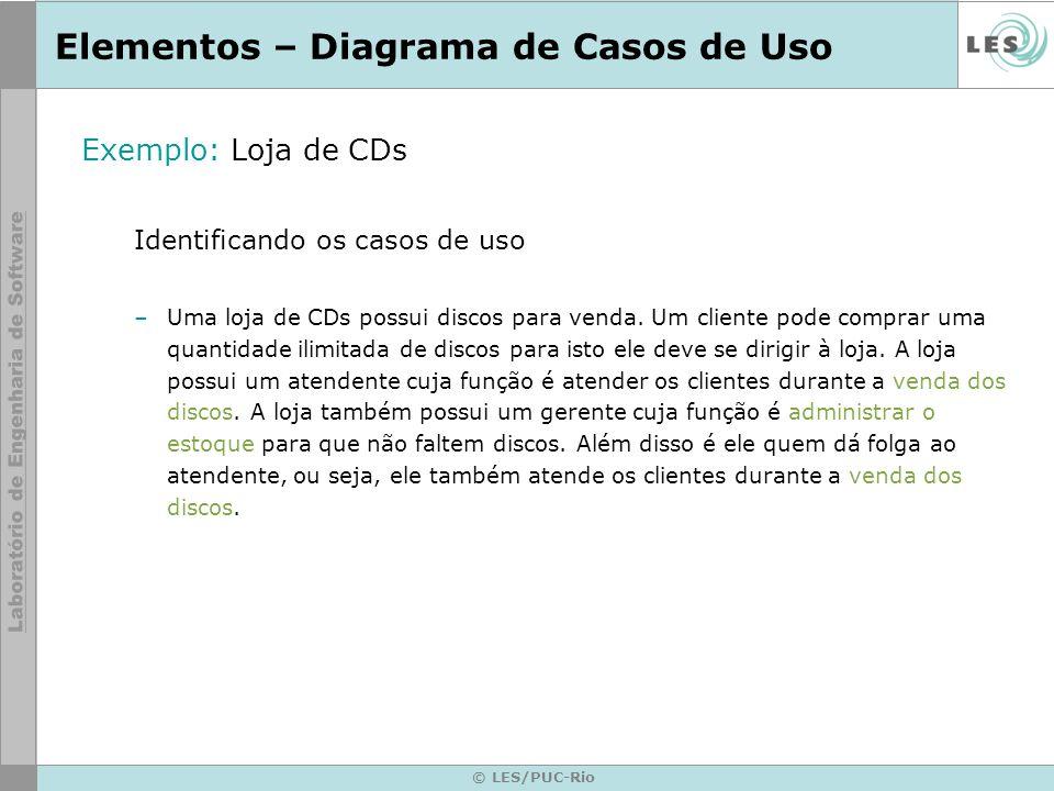 © LES/PUC-Rio Elementos – Diagrama de Casos de Uso Exemplo: Loja de CDs Identificando os casos de uso –Uma loja de CDs possui discos para venda. Um cl