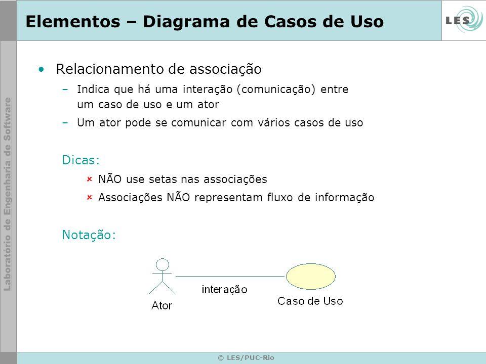 © LES/PUC-Rio Elementos – Diagrama de Casos de Uso Relacionamento de associação –Indica que há uma interação (comunicação) entre um caso de uso e um a