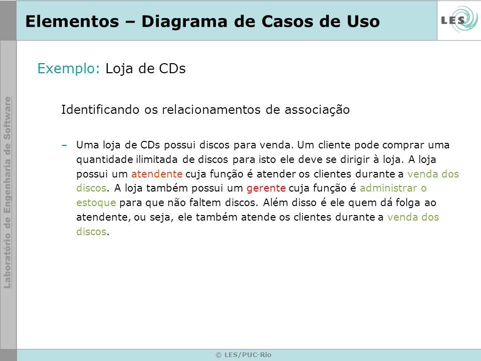 © LES/PUC-Rio Elementos – Diagrama de Casos de Uso Exemplo: Loja de CDs Identificando os relacionamentos de associação –Uma loja de CDs possui discos