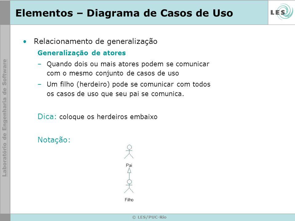 © LES/PUC-Rio Elementos – Diagrama de Casos de Uso Relacionamento de generalização Generalização de atores –Quando dois ou mais atores podem se comuni