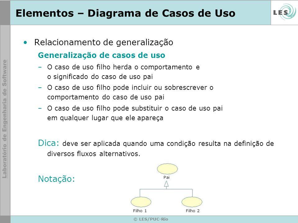 © LES/PUC-Rio Elementos – Diagrama de Casos de Uso Relacionamento de generalização Generalização de casos de uso –O caso de uso filho herda o comporta