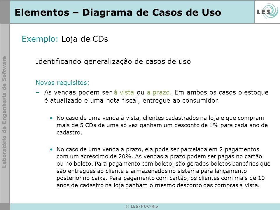 © LES/PUC-Rio Elementos – Diagrama de Casos de Uso Exemplo: Loja de CDs Identificando generalização de casos de uso Novos requisitos: –As vendas podem