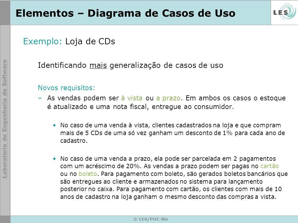 © LES/PUC-Rio Elementos – Diagrama de Casos de Uso Exemplo: Loja de CDs Identificando mais generalização de casos de uso Novos requisitos: –As vendas