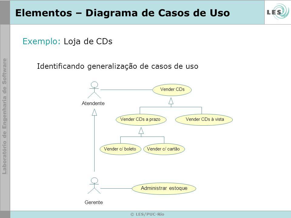 © LES/PUC-Rio Elementos – Diagrama de Casos de Uso Exemplo: Loja de CDs Identificando generalização de casos de uso Atendente Vender CDs Gerente Vende