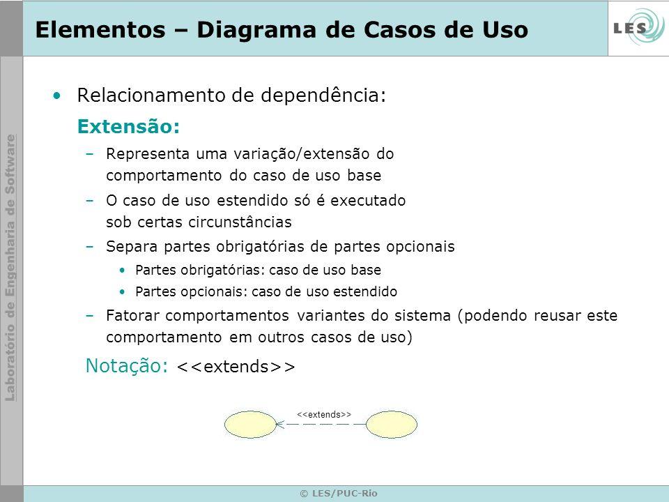 © LES/PUC-Rio Elementos – Diagrama de Casos de Uso Relacionamento de dependência: Extensão: –Representa uma variação/extensão do comportamento do caso