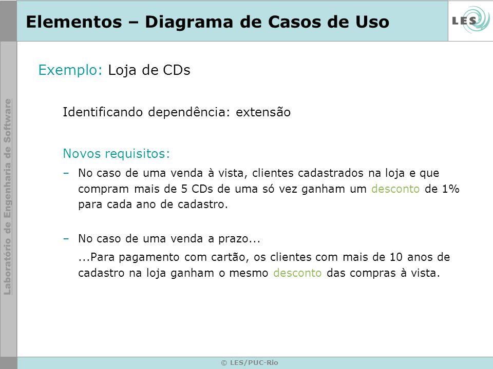 © LES/PUC-Rio Elementos – Diagrama de Casos de Uso Exemplo: Loja de CDs Identificando dependência: extensão Novos requisitos: –No caso de uma venda à