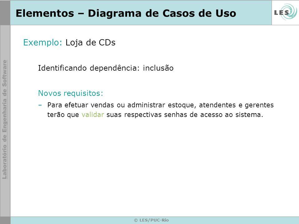 © LES/PUC-Rio Elementos – Diagrama de Casos de Uso Exemplo: Loja de CDs Identificando dependência: inclusão Novos requisitos: –Para efetuar vendas ou