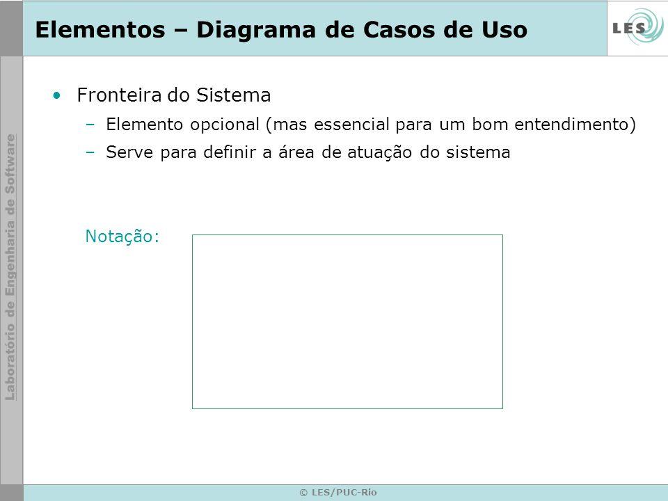 © LES/PUC-Rio Elementos – Diagrama de Casos de Uso Fronteira do Sistema –Elemento opcional (mas essencial para um bom entendimento) –Serve para defini
