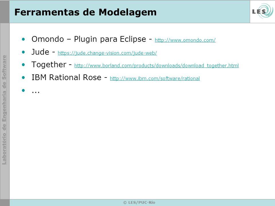© LES/PUC-Rio Ferramentas de Modelagem Omondo – Plugin para Eclipse - http://www.omondo.com/ http://www.omondo.com/ Jude - https://jude.change-vision.