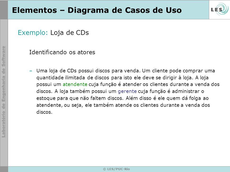 © LES/PUC-Rio Elementos – Diagrama de Casos de Uso Exemplo: Loja de CDs Identificando os atores –Uma loja de CDs possui discos para venda. Um cliente