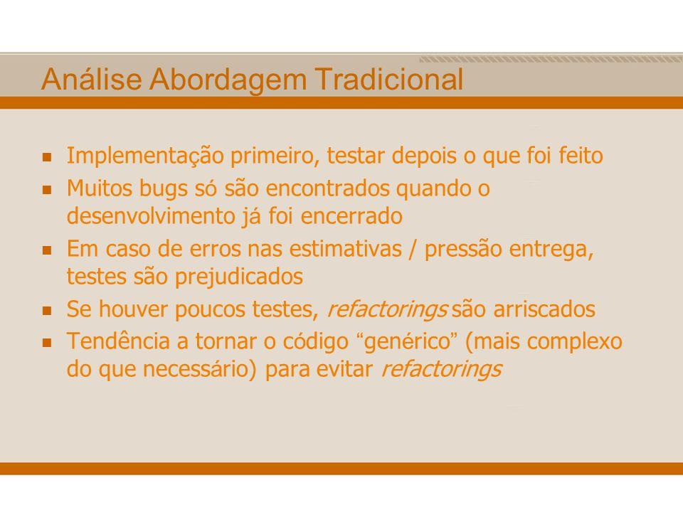 Análise Abordagem Tradicional Implementa ç ão primeiro, testar depois o que foi feito Muitos bugs s ó são encontrados quando o desenvolvimento j á foi