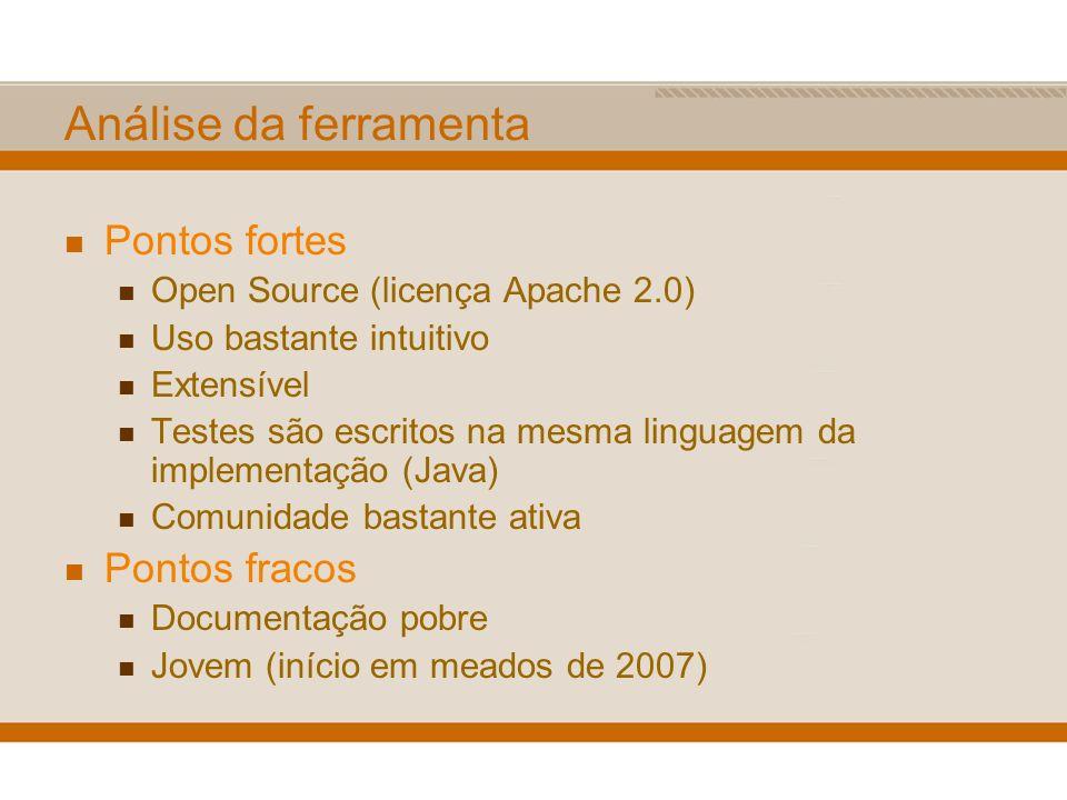 Análise da ferramenta Pontos fortes Open Source (licença Apache 2.0) Uso bastante intuitivo Extensível Testes são escritos na mesma linguagem da imple