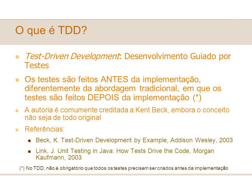 O que é TDD? Test-Driven Development: Desenvolvimento Guiado por Testes Os testes são feitos ANTES da implementação, diferentemente da abordagem tradi