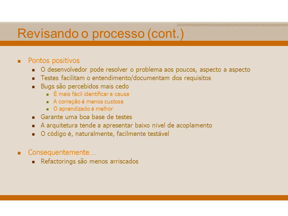 Pontos positivos O desenvolvedor pode resolver o problema aos poucos, aspecto a aspecto Testes facilitam o entendimento/documentam dos requisitos Bugs