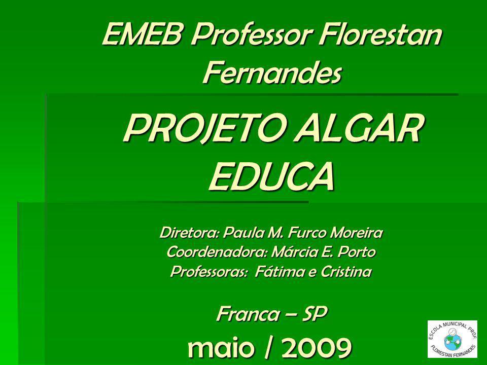 EMEB Professor Florestan Fernandes PROJETO ALGAR EDUCA Diretora: Paula M. Furco Moreira Coordenadora: Márcia E. Porto Professoras: Fátima e Cristina F